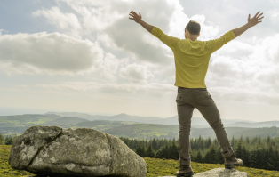 Adult Student on top of an Irish Hill