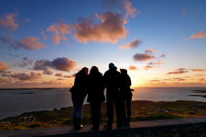 Students Watch Sunset and Talk About Ireland