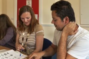 Two Students Learning English in School