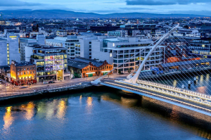 The Thriving City of Dublin Aerial View at Night